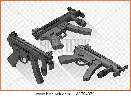 submachine gun isometric flat vector 3d illustration isolated on white background