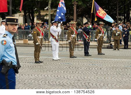 Paris France-July 14 2016 : The Australian troops participate in Bastille Day military parade on Champs Elysees avenue on the occasion of the centennial anniversary of the Battle of Somme.