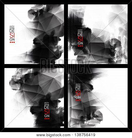 Abstract stylish background Black ink paint. Black blot isolated on white square. Grunge watercolor banner. Painting. Wallpaper with empty space for your text. Vector illustration set.