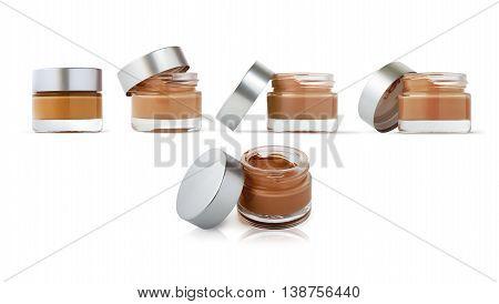 Cosmetic cream bottles isolated on white background