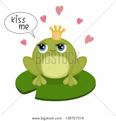 Card with cute little frog and inscription 'kiss me'