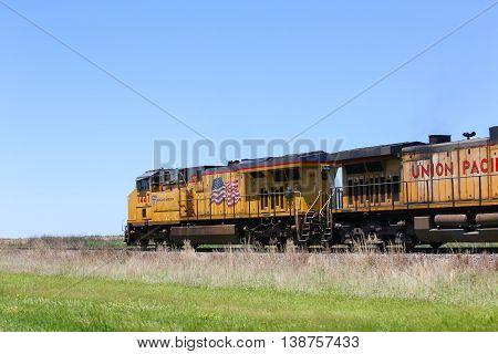 PRATT, KANSAS, USA - MAY 17 2015: Union pacific freight train on the track near Dodge City.