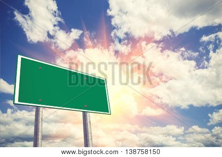Blank Freeway Sign Against A Blue Sky.vintage Color