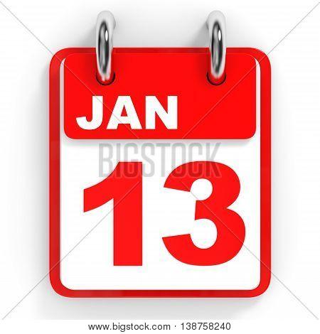 Calendar on white background. 13 January. 3D illustration. poster