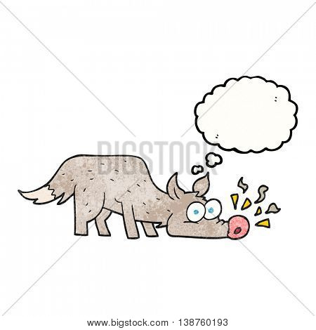 freehand drawn thought bubble textured cartoon dog sniffing