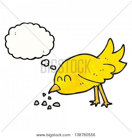 freehand drawn thought bubble textured cartoon bird pecking seeds