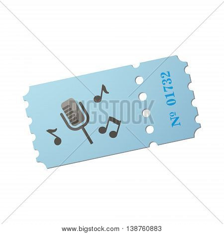 Ticket in the cartoon style, vector illustration. Ticket stub isolated on a background. Card of flat style.