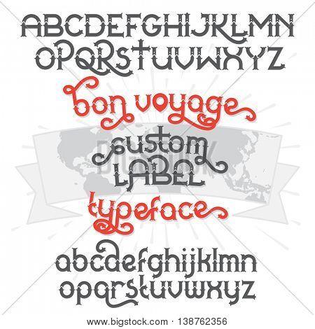 Custom retro typeface Bon Voyage. Vintage alphabet font set and world map ribbon scroll