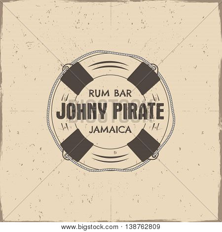 Vintage handcrafted rum bar label, emblem. Vector sign - johny pirate, Jamaica. Sketching filled style. Pirate and sea symbols - old lifebuoy. Isolated on a scratched paper background. Vector.