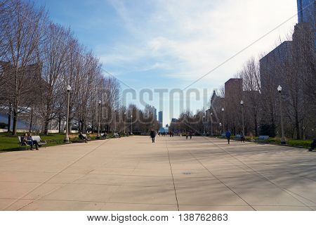 CHICAGO, IL - CIRCA MARCH, 2016: Millennium Park in the daytime. Millennium Park is a public park located in the Loop community area of Chicago in Illinois, US.