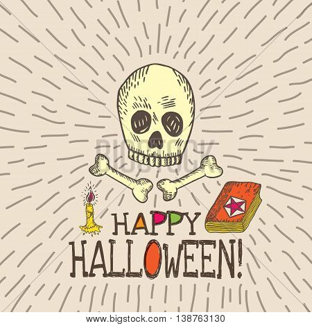 Halloween card with hand drawn skull spell book and candle on beige background. Vector hand drawn illustration.