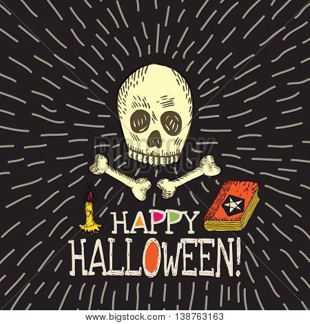 Halloween card with hand drawn skull spell book and candle on black background. Vector hand drawn illustration.