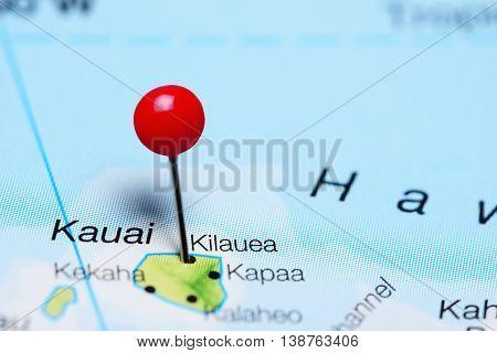 Kilauea pinned on a map of Hawaii