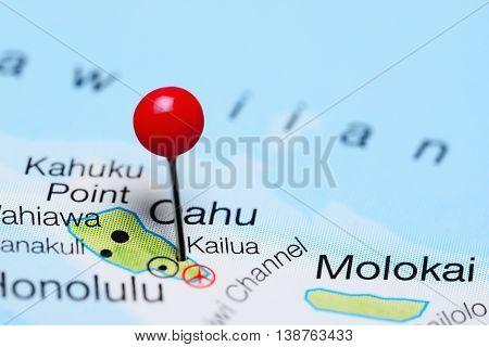 Kailua pinned on a map of Hawaii