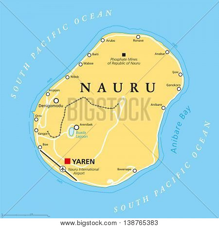 Nauru political map with de facto capital Yaren and important settlements. Republic in Micronesia in the Central Pacific. Island country, formerly known as Pleasant Island. English labeling.