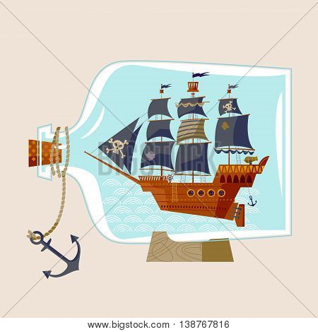 Pirate Ship in a bottle. Vector illustration