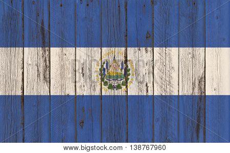 Flag of El Salvador painted on wooden frame