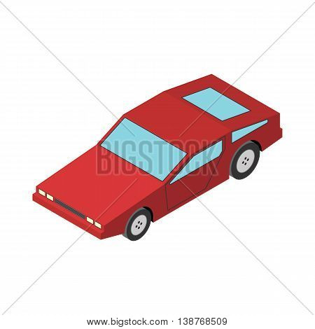 Red Sport car isometric isolated on white