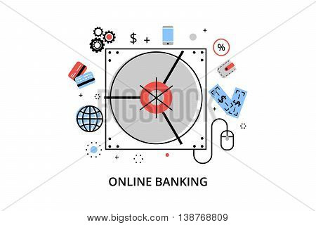 Modern flat thin line design vector illustration infographic concept of online banking internet money operations and payment transations for graphic and web design