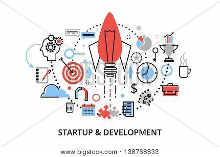 Modern flat thin line design vector illustration concepts of startup project business strategy and innovation development for graphic and web design