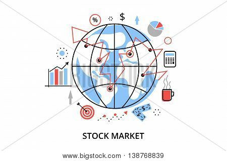 Modern flat thin line design vector illustration infographic concept with icons of stock market process and securities trading for graphic and web design