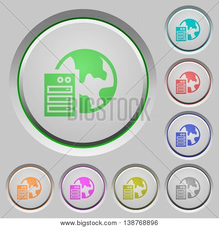 Set of color Web hosting sunk push buttons.