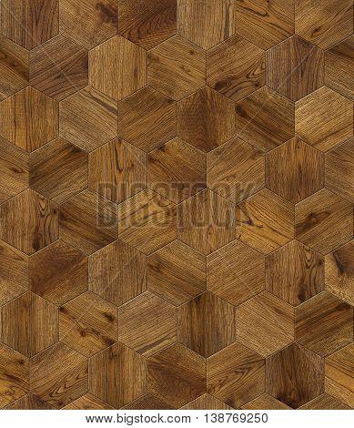 Natural wooden background honeycomb grunge parquet flooring design seamless texture for 3d interior poster