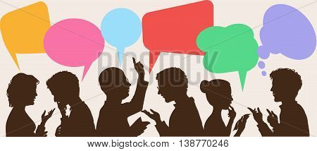 silhouettes of people leading dialogues with colorful speech bubbles