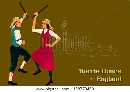 Vector design of Couple performing Morris dance of England