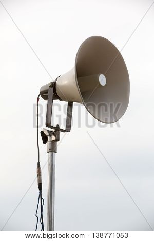 One Mega Phone On A  Metal Pole