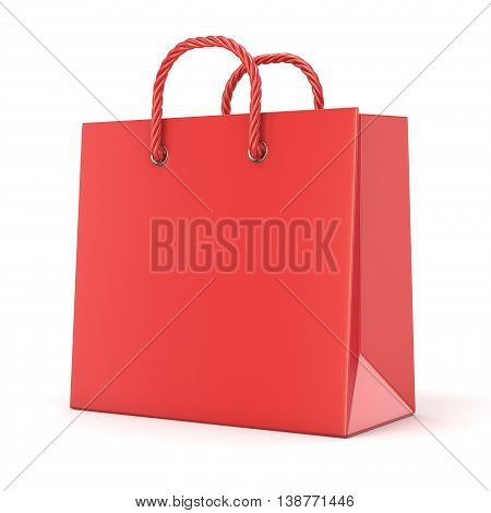 Single empty red blank shopping bag. 3D render illustration isolated on white background