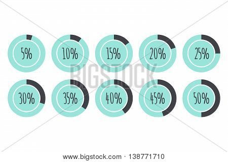 Pie Charts 5% 10% 15% 20% 25% 30% 35% 40% 45% 50% blue and grey vector infographics