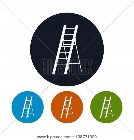 Icon Ladder, Four Types of Round Icons Stepladder ,Construction and Gardening Tool, Vector Illustration
