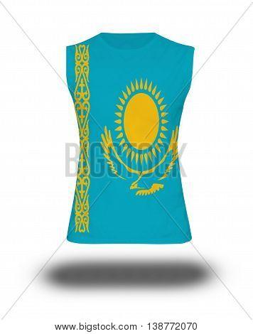 Athletic Sleeveless Shirt With Kazakhstan Flag On White Background And Shadow