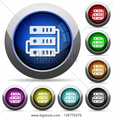 Set of round glossy servers buttons. Arranged layer structure.