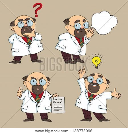 Vector illustration. Cartoon. The doctor advises and warns.