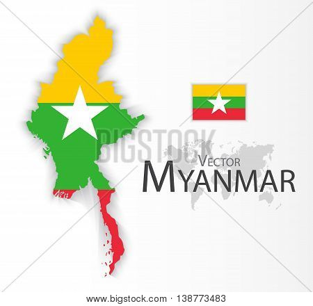 Myanmar ( Republic of the Union of Myanmar ) ( flag and map ) ( transportation and tourism concept ) Myanmar is one of AEC ( ASEAN Economic Community )