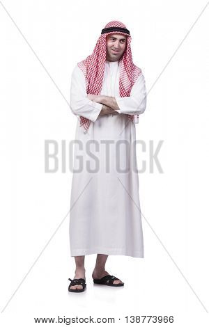 Unhappy young arab man isolated on white