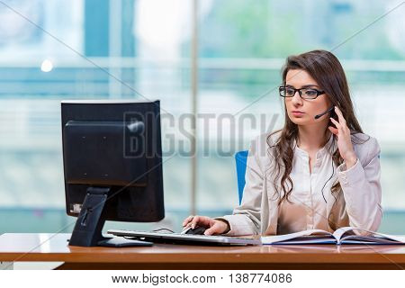 Call center operator working in the office