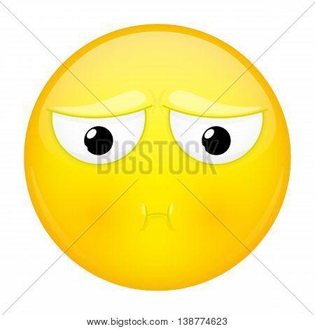 Sulk emoji. Bad emotion. Pout emoticon. Vector illustration smile icon.