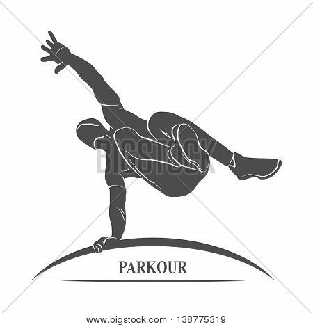 Icon man jumping outdoor parkour.  illustration.