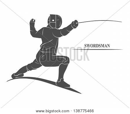 Icon fencer with a sword.  illustration.