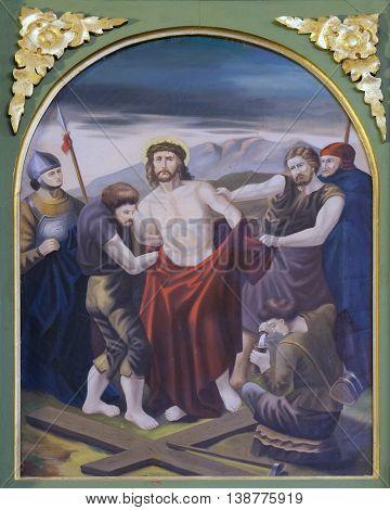 STITAR, CROATIA - NOVEMBER 24: 10th Stations of the Cross, Jesus is stripped of His garments, church of Saint Matthew in Stitar, Croatia on November 24, 2015