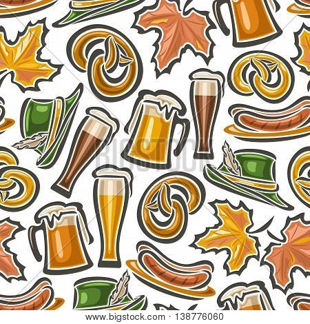 Vector background bavarian seamless pattern oktoberfest. White Background  - symbols Oktoberfest: glass mug beer, pretzel, tyrolean hat, maple leaf, grill sausages. Textile tablecloth Bayern