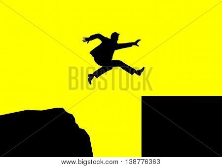 Man jumping over rough terrain to smooth terrain, success concept