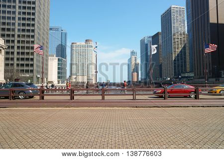 CHICAGO, IL - CIRCA MARCH, 2016: DuSable Bridge in the daytime. DuSable Bridge is a bascule bridge that carries Michigan Avenue across the main stem of the Chicago River in downtown Chicago