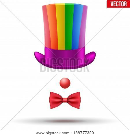 Concept of Clown Symbol. Hat with red nose ant bow tie Vector Illustration isolated on white background.