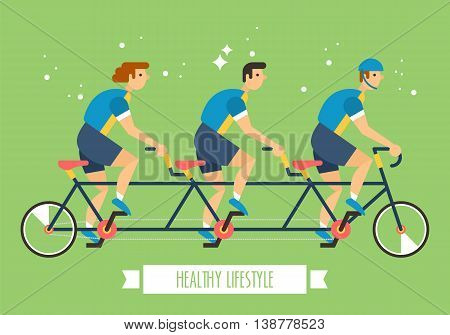 Bicycle team on multi seat bicycle. Team activity amd sport concept for graphic and web design