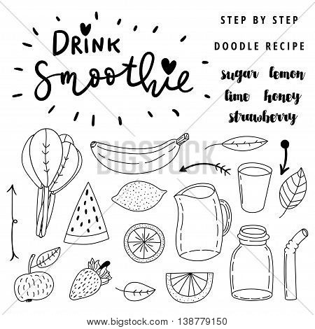 Set of hand drawn simple line vector doodle icons. Drink smoothie. Step by step easy to do recipe.