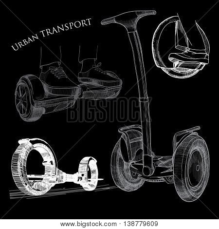 Vector illuctration of Hand drawn isolated objects transports. Modern urban transport, Electric scooter, Balancing scooter, Moto cycle.